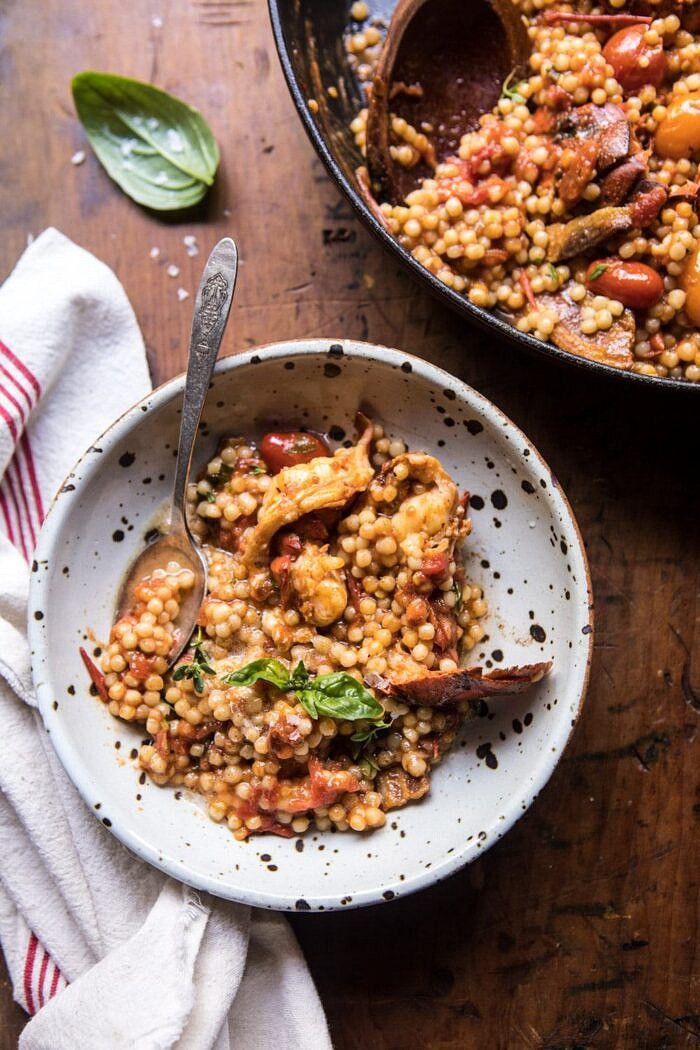 One Pot Tomato Basil Lobster and Herbed Pearl Couscous in single serve bowl with spoon