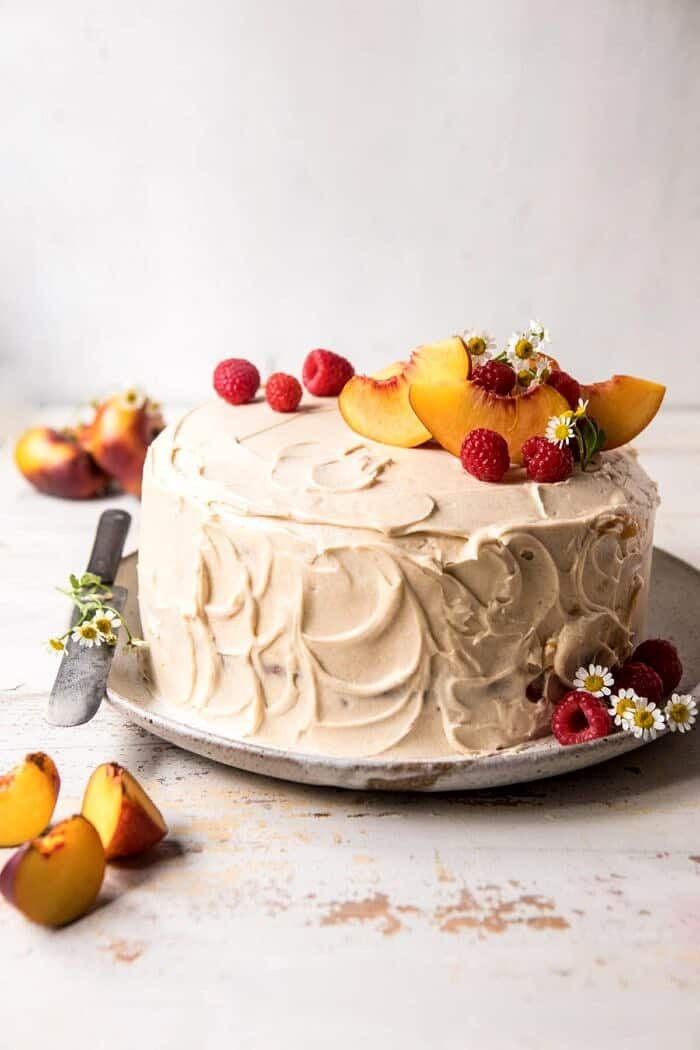 Peach Ricotta Layer Cake with Browned Butter Buttercream | halfbakedharvest.com #cake #summer #peaches #layercake