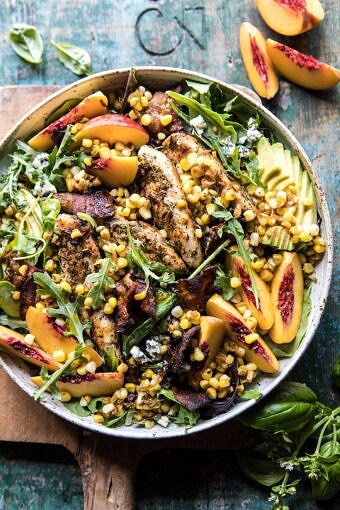 Rosemary Chicken, Caramelized Corn, and Peach Salad with Hot Bacon Vinaigrette | halfbakedharvest.com #salad #chicken #easyrecipes #summer #corn