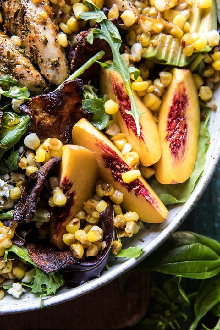 close up photo of Rosemary Chicken, Caramelized Corn, and Peach Salad