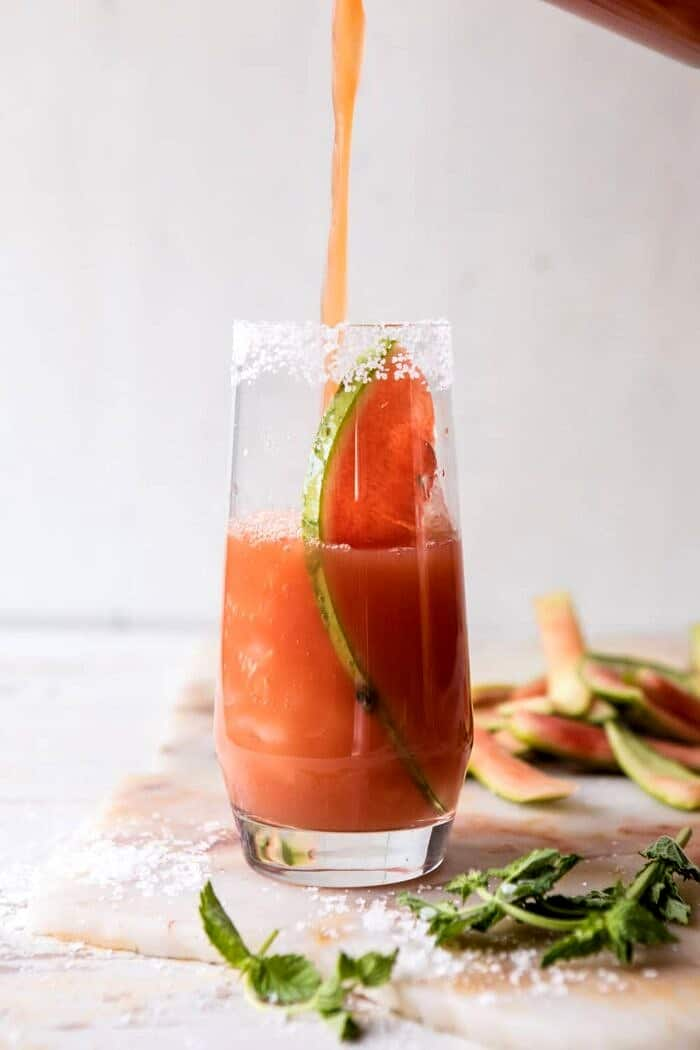front on photo of pouring Watermelon Paloma into glass