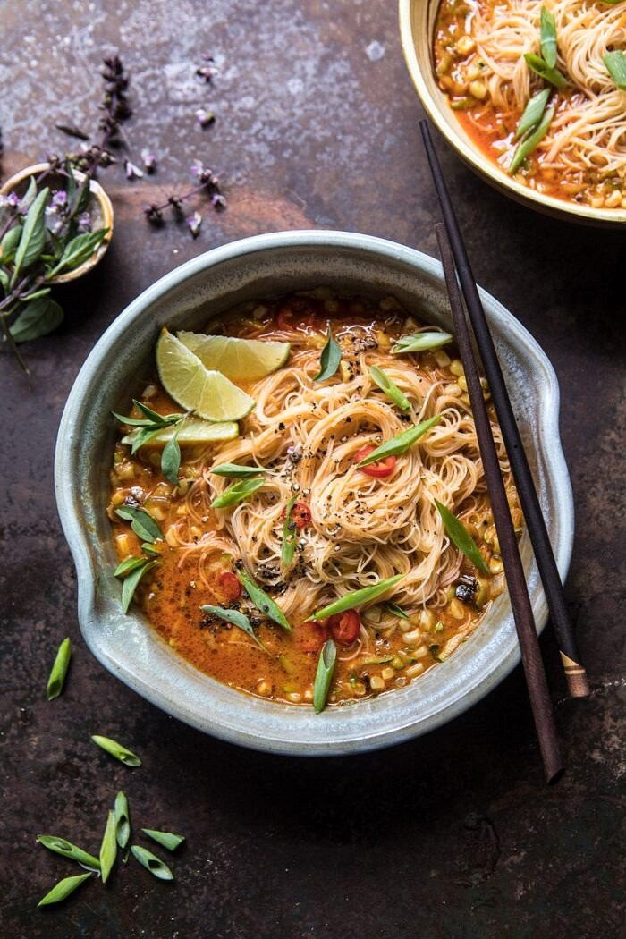 Saucy Coconut Summer Curry with Rice Noodles and Garden Vegetables | halfbakedharvest.com #curry #summerrecipes #easyrecipes #thairecipe #simplerecipes