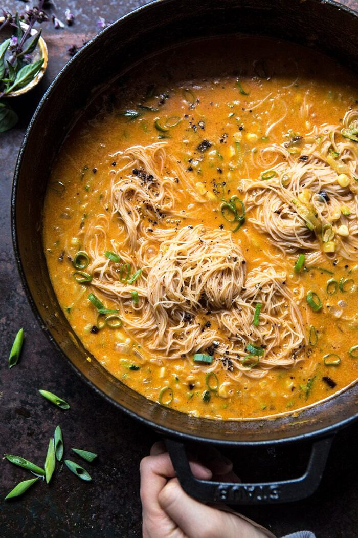 Saucy Coconut Summer Curry with Rice Noodles and Garden Vegetables in pot