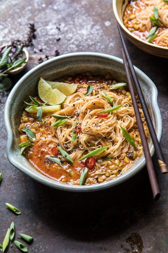 side angled photo of Saucy Coconut Curry with Rice Noodles and Garden Vegetables
