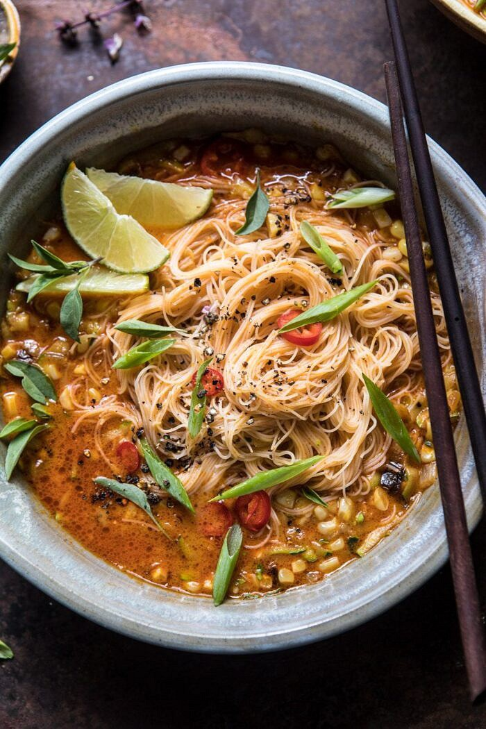overhead close up photo of Saucy Coconut Curry with Rice Noodles and Garden Vegetables