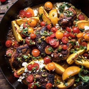 Skillet Moroccan Chicken with Tomatoes, Peaches, and Feta | halfbakedharvest.com #peaches #chicken #skilletrecipes #easyrecipes