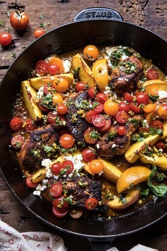 Skillet Moroccan Chicken with Tomatoes, Peaches, and Feta   halfbakedharvest.com #peaches #chicken #skilletrecipes #easyrecipes