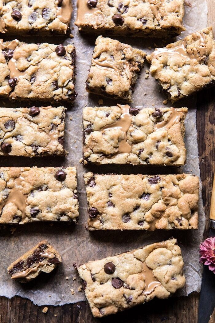 The Best Chocolate Chip Peanut Butter Swirled Cookie Bars.