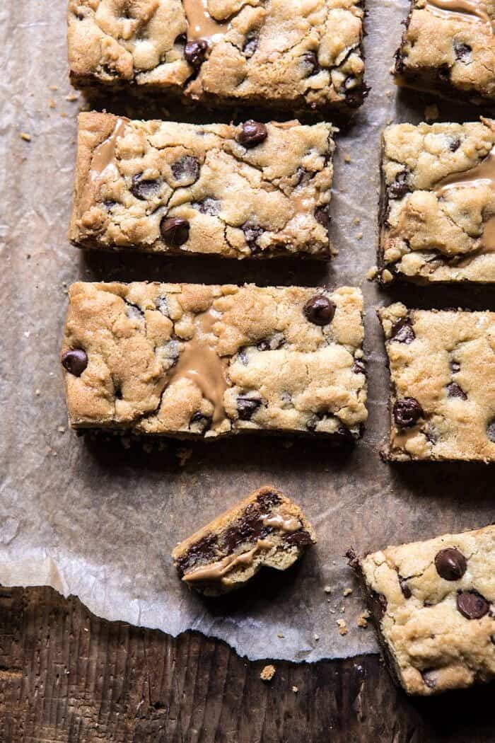close up of broken cookie bar
