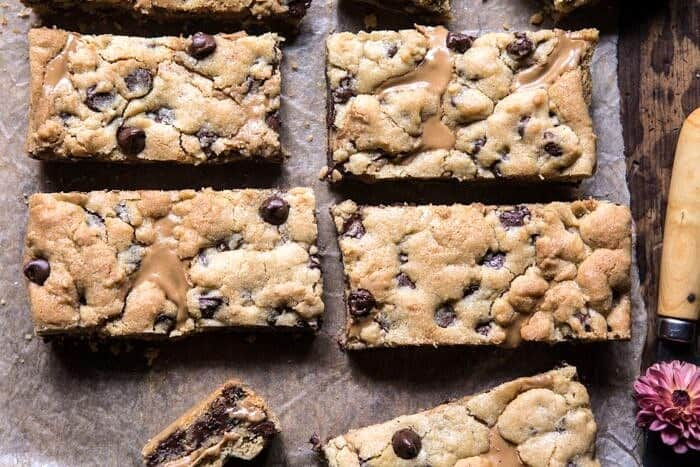 overhead horizontal photo of The Best Chocolate Chip Peanut Butter Swirled Cookie Bars