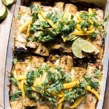 Salsa Verde Chicken and Zucchini Enchiladas with Mango.