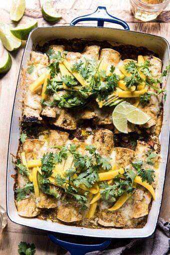 Salsa Verde Chicken and Zucchini Enchiladas with Mango | halfbakedharvest.com #mexican #enchiladas #zucchini #summerrecipes #easy
