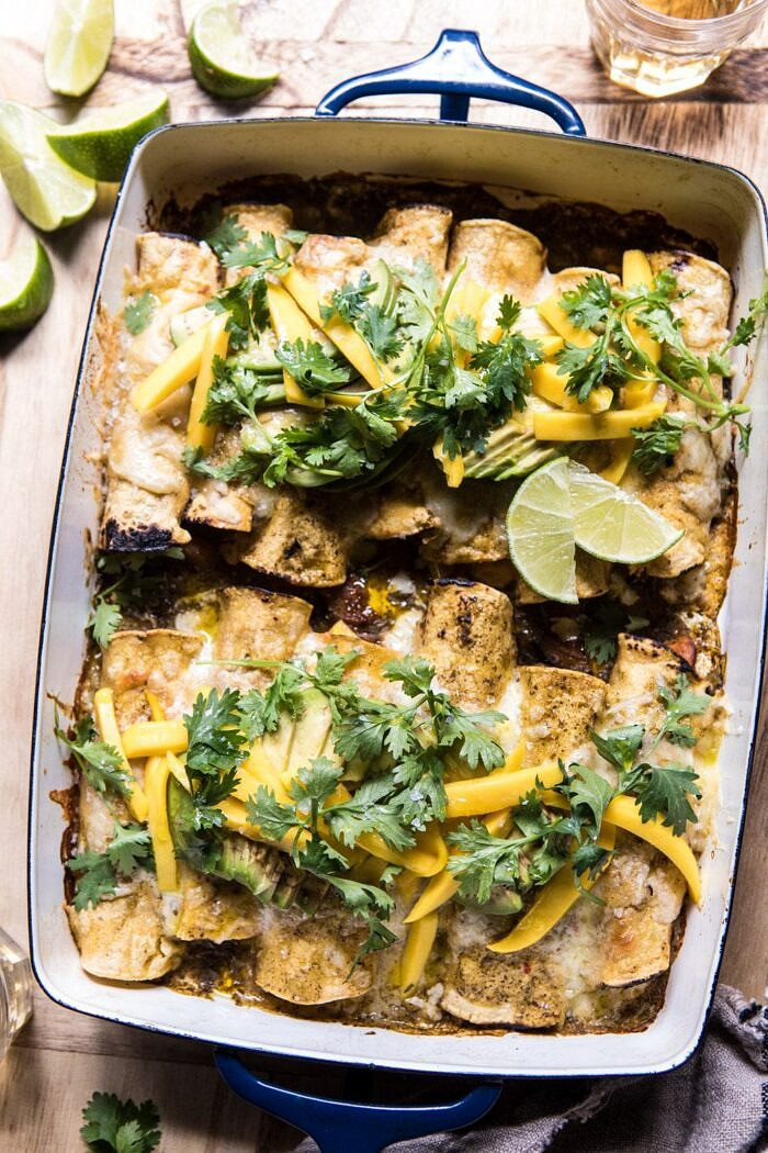 Salsa Verde Chicken and Zucchini Enchiladas with Mango.