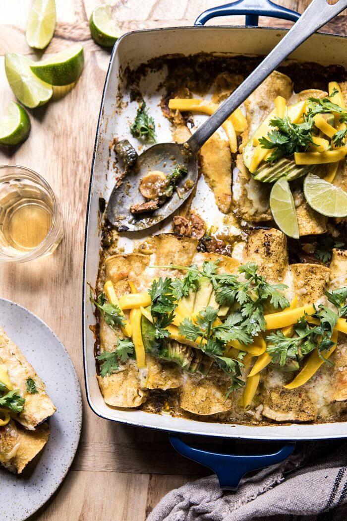 Salsa Verde Chicken and Zucchini Enchiladas with Mango with enchiladas on a plate