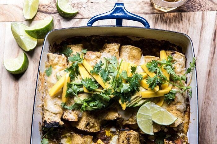 horizontal overhead photo of Salsa Verde Chicken and Zucchini Enchiladas with Mango