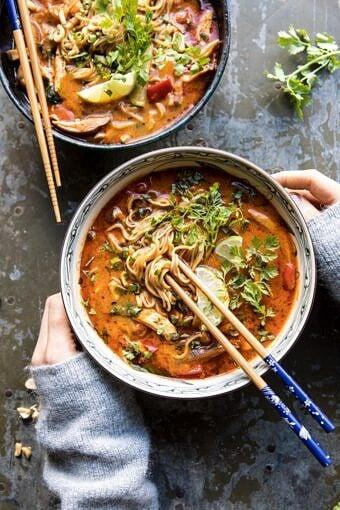 20 Minute Thai Peanut Chicken Ramen | halfbakedharvest.com #soup #instantpot #ramen #fallrecipes