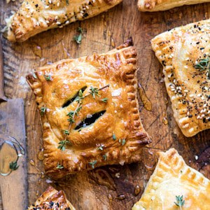 Caramelized Onion, Spinach, and Cheddar Flaky Pastries.