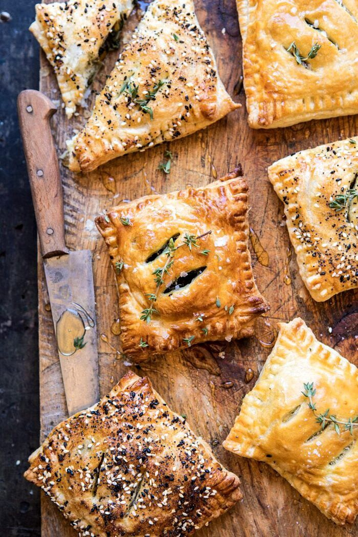 overhead photo of Caramelized Onion, Spinach, and Cheddar Flaky Pastries