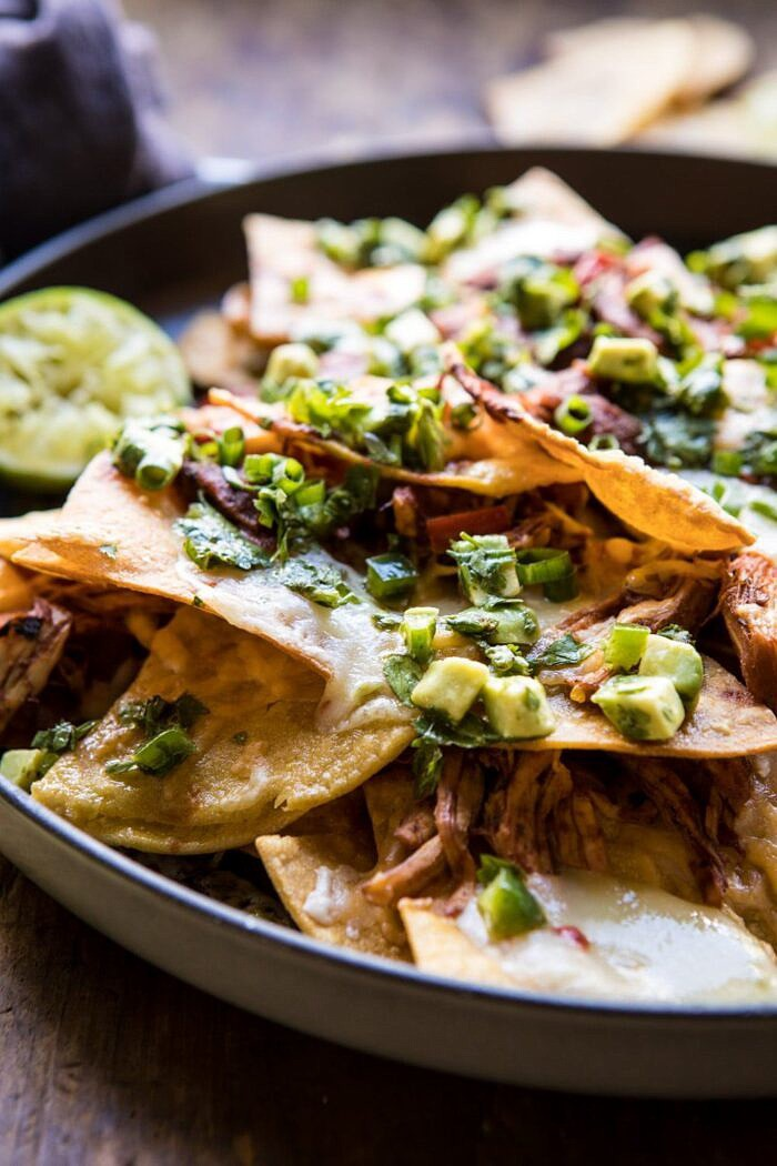 side angle photo of Chipotle Braised Chicken Nachos