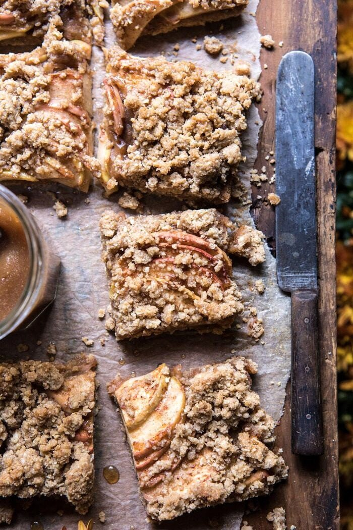 overhead photo of Double the Streusel Apple Butter Bars with knife and apple butter in photo