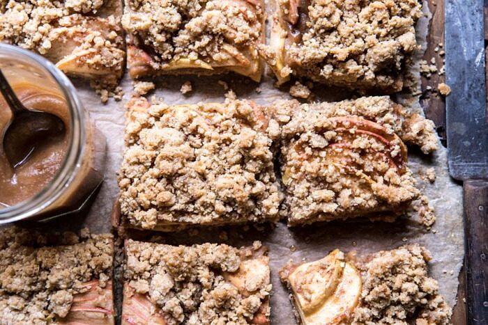 horizontal photos of Double the Streusel Apple Butter Bars
