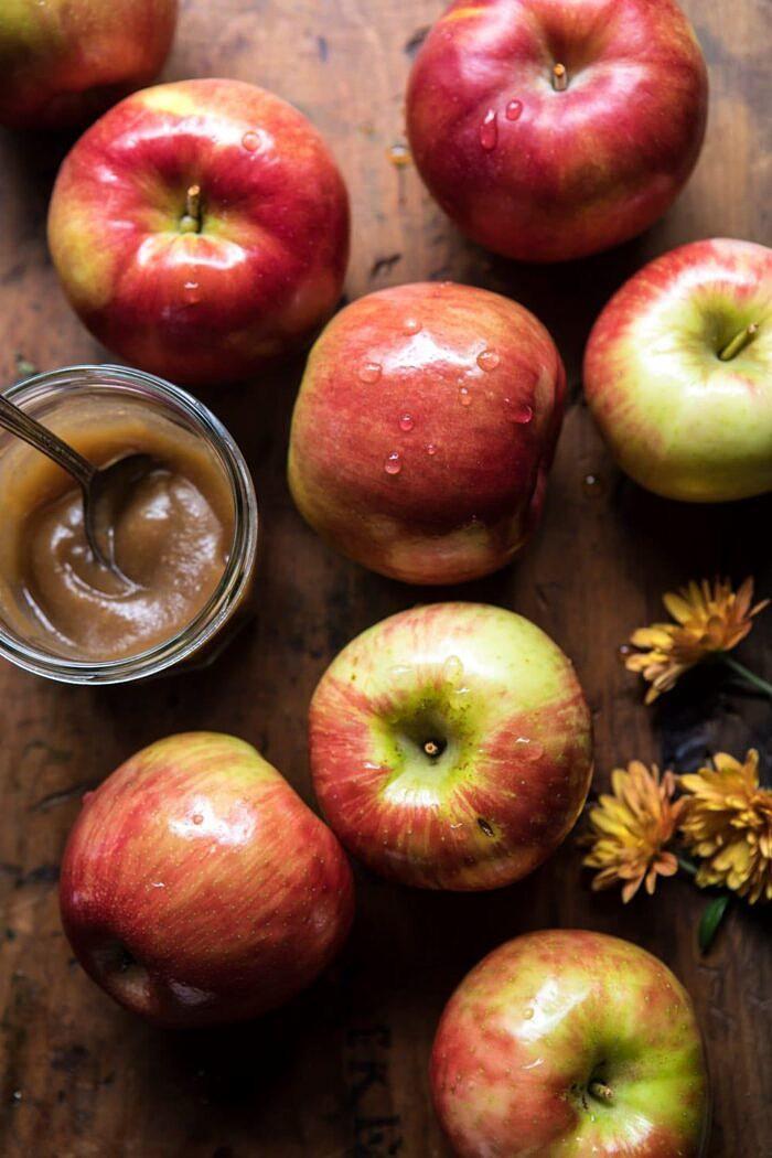 overhead photo of raw apples