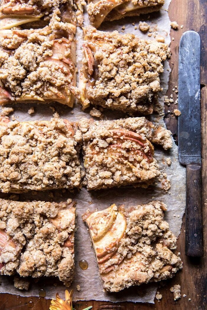 overhead close up photo of Double the Streusel Apple Butter Bars