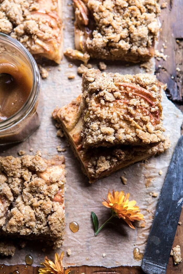 overhead photo Double the Streusel Apple Butter Bars stacked one on top of the other