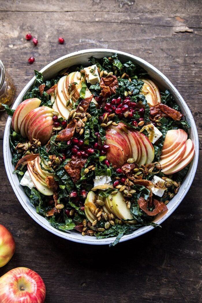 Fall Harvest Honeycrisp Apple and Kale Salad | halfbakedharvest.com #fall #easyrecipes #healthyrecipe #apples #salad