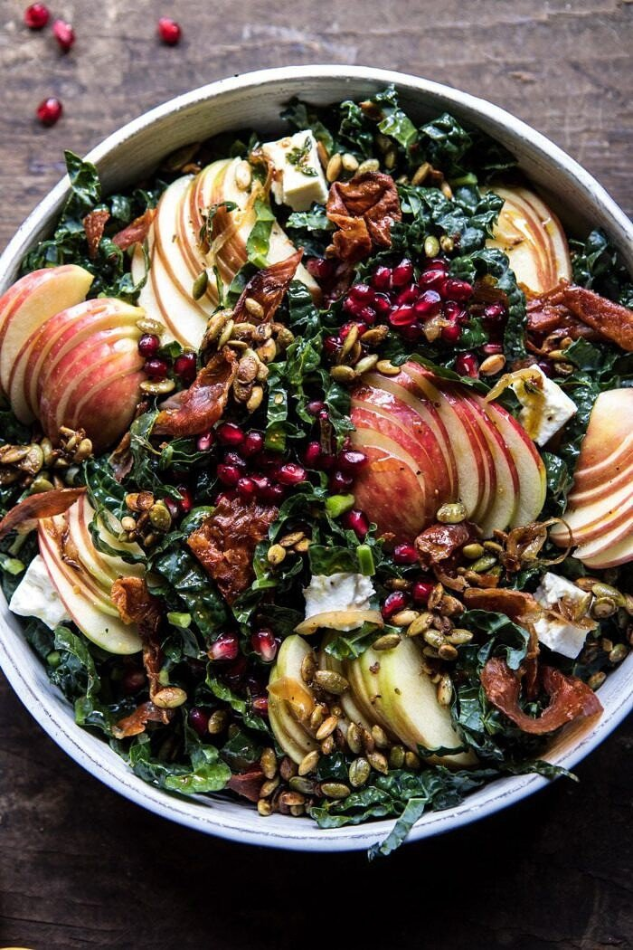overhead close up photo of Fall Harvest Honeycrisp Apple and Kale Salad