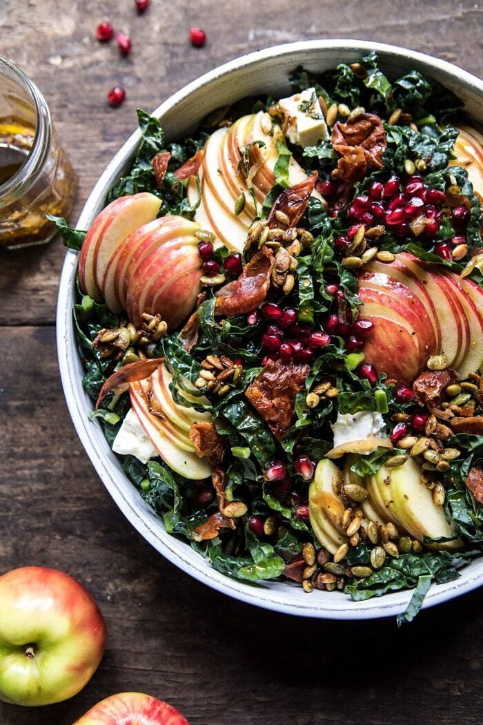 side photo of Fall Harvest Honeycrisp Apple and Kale Salad with apples and vinaigrette in photo