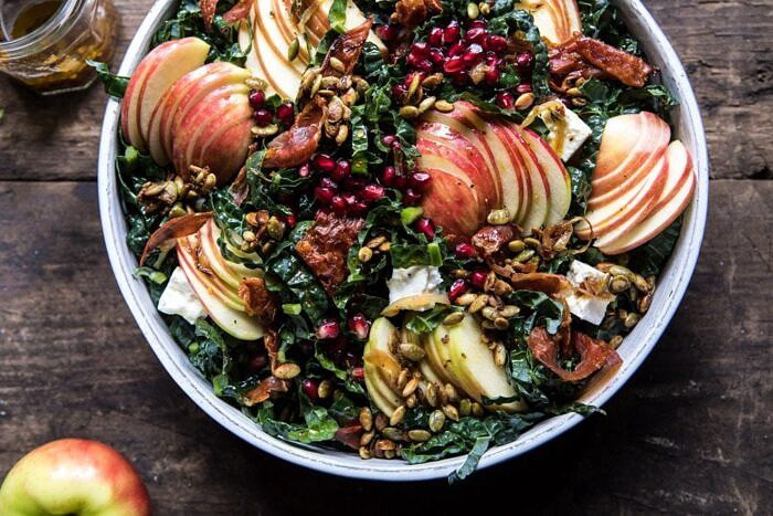 horizontal photo of Fall Harvest Honeycrisp Apple and Kale Salad