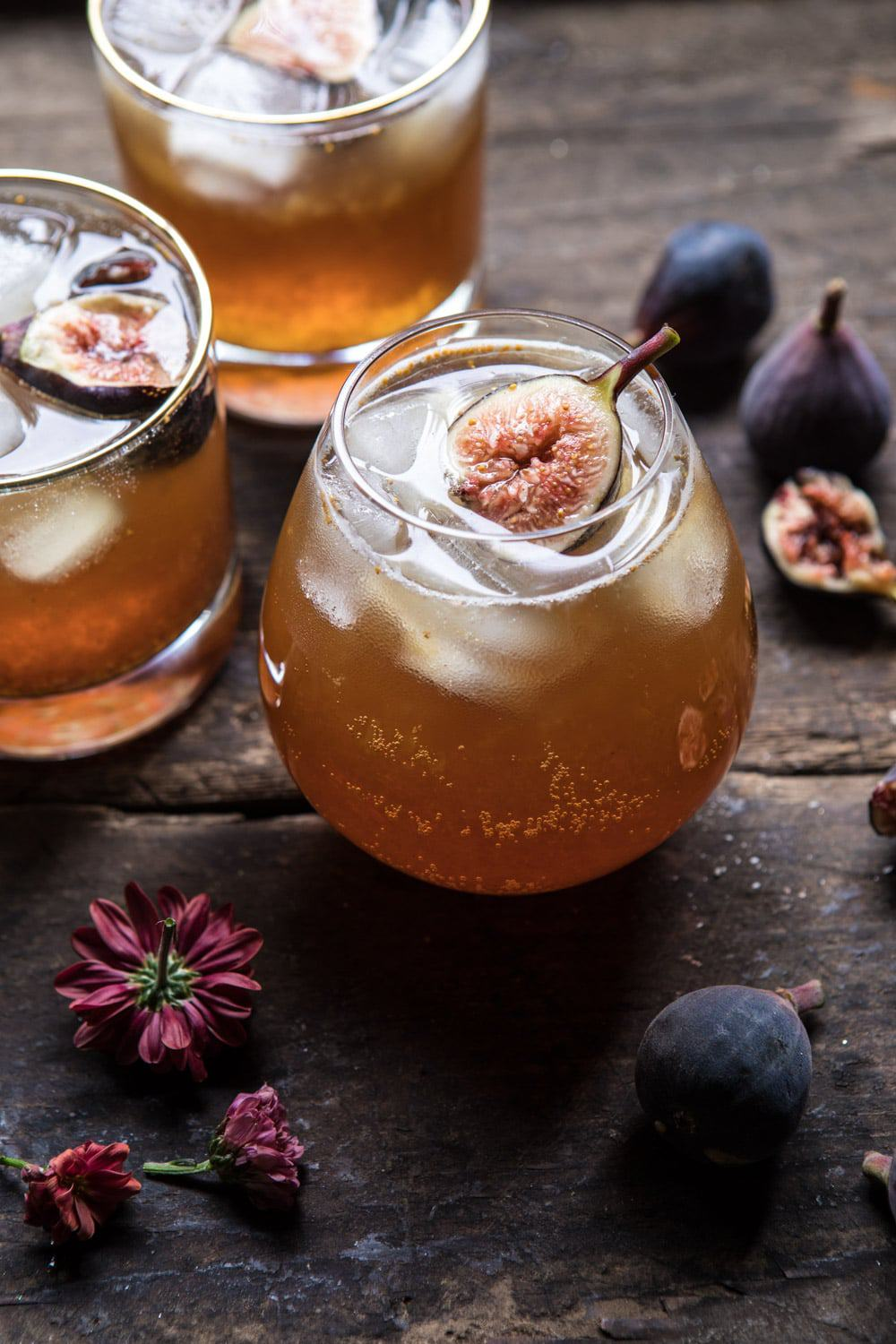 Fig Bourbon Cider Smash | halfbakedharvest.com #cocktial #drink #figs #bourbon #fallrecipes #autumn