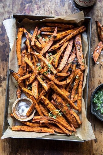 Herb Butter Baked Sweet Potato Fries | halfbakedharvest.com #quick #simple #easy #appetizers #sweetpotatoes #fallrecipes #autumn