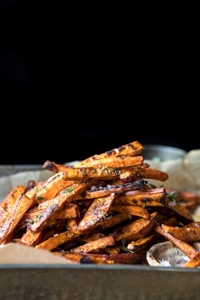 side angle photo of Herb Butter Baked Sweet Potato Fries