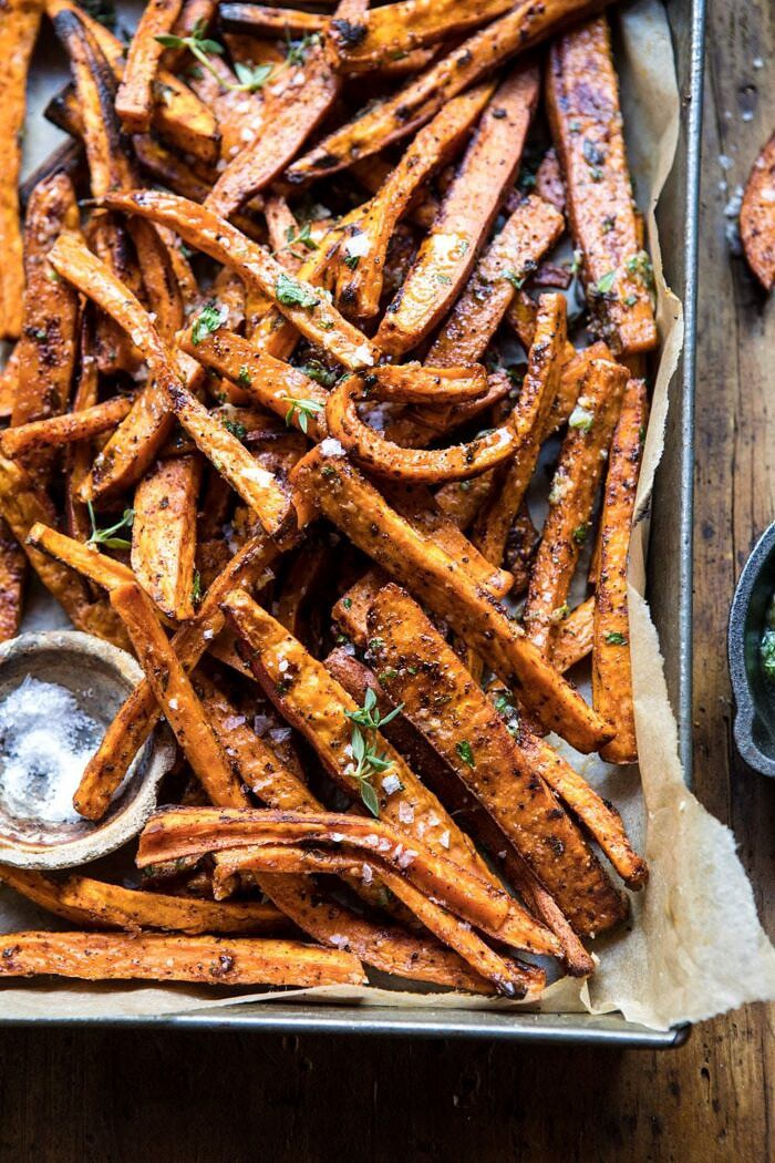 close up 3/4 angled photo of sweet potato fries