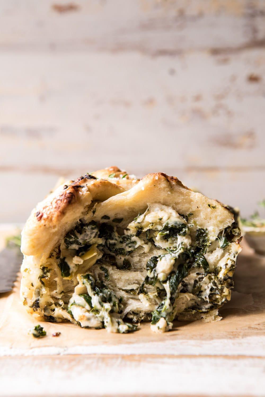 Herbed Spinach and Artichoke Pull Apart Pretzel Bread | halfbakedharvest.com #bread #appetizer #gamedayrecipes #easyrecipes