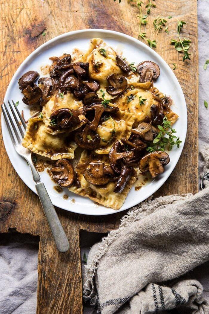 Herby Buttered Balsamic Mushroom Ravioli | halfbakedharvest.com #mushrooms #italian #ravioli #easyrecipes