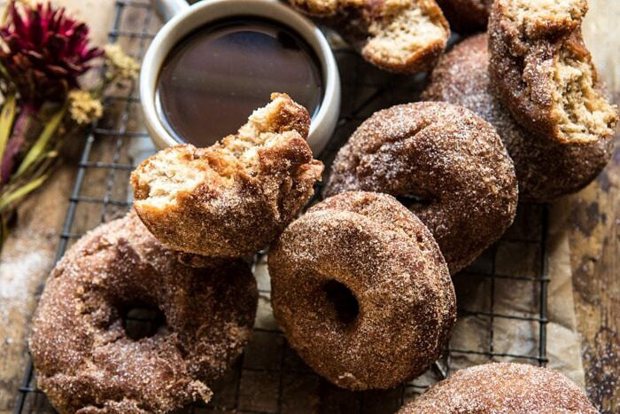 side angle horizontal photo of Mulled Spiced Apple Cider Doughnuts