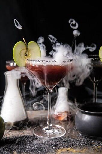 Poison Apple Martini | halfbakedharvest.com #martini #apple #halloween #cocktails