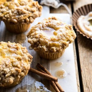 Pumpkin Coffee Cake Muffins with Cinnamon Honey Butter.