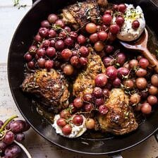Thyme Roasted Chicken with Grapes and Burrata.