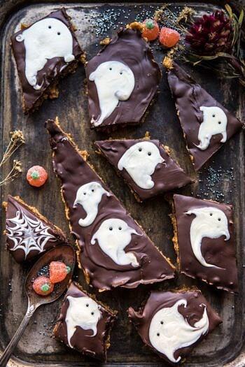 BOO! Chocolate Peanut Butter Bars | halfbakedharvest.com #halloween #chocolate #peautbutter #dessert