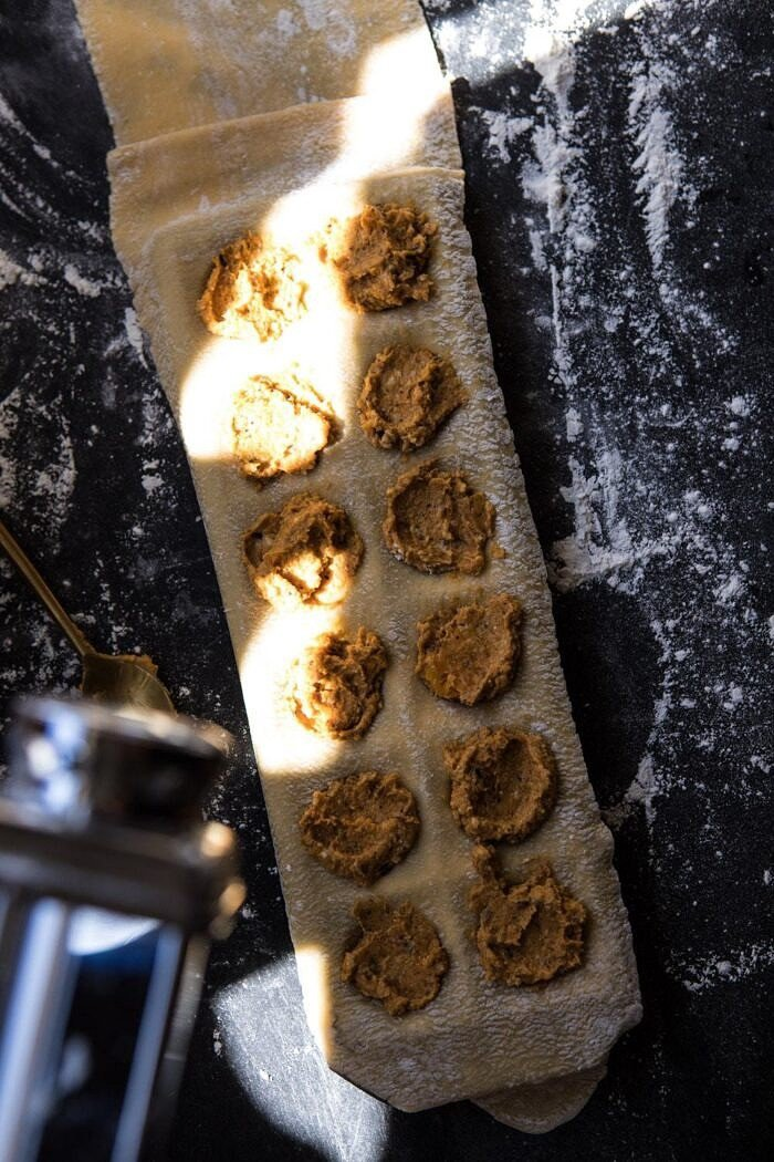 overhead photo of Butternut Squash Cheese Ravioli in ravioli mold