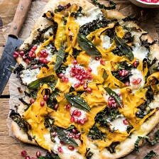 Caramelized Onion, Butternut Squash, and Crispy Kale Pizza.