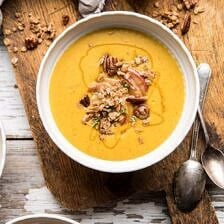 Cheddar Apple Butternut Squash Soup with Cinnamon Pecan Crumble.