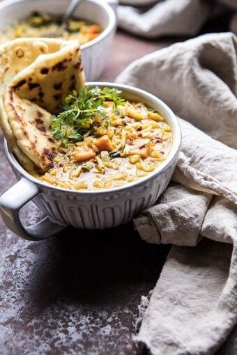 Coconut Sweet Potato Lentil Soup with Rice | halfbakedharvest.com #soup #healthy #dinner #autumnrecipes #vegan