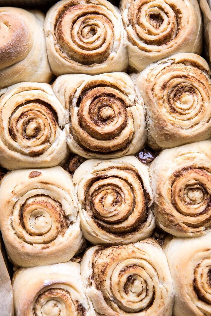 overhead photo of buns after baking