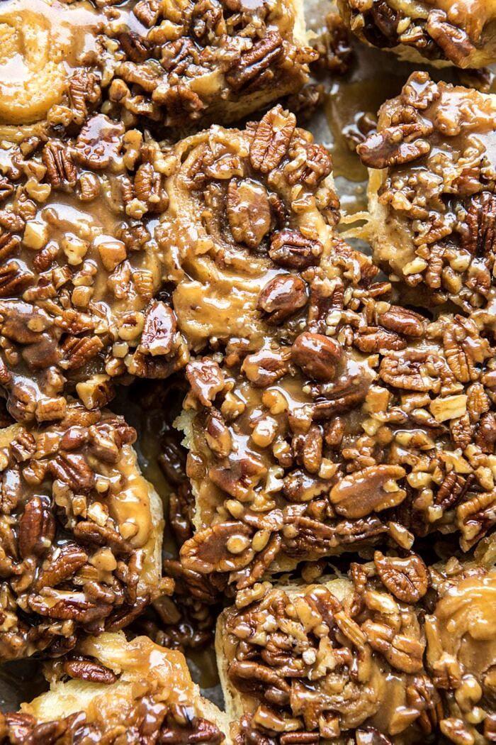close up photo of Extra Sticky Maple Pecan Sticky Buns