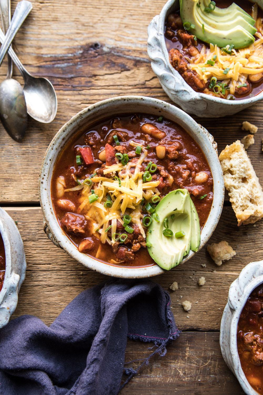 Healthy Slow Cooker Turkey and White Bean Chili | halfbakedharvest.com #slowcooker #chili #healthyrecipes #turkey